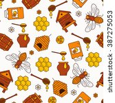 seamless pattern with beehive ... | Shutterstock .eps vector #387275053