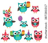 set of vector birthday party... | Shutterstock .eps vector #387281017