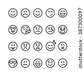 emoji set. set of thin line... | Shutterstock .eps vector #387300097