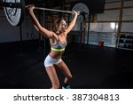 attractive woman working out in ...   Shutterstock . vector #387304813