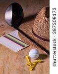 siesta   straw hat and golf...   Shutterstock . vector #387308173