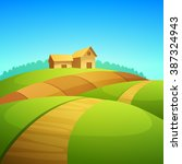 rural landscape with farm barn  ... | Shutterstock .eps vector #387324943