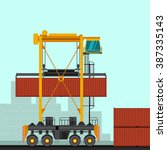 straddle carrier with container ... | Shutterstock .eps vector #387335143