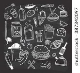 set of food and drink doodle on ... | Shutterstock . vector #387342097