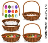 set of baskets  and eggs | Shutterstock .eps vector #387347173