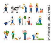 flat style set of farm... | Shutterstock .eps vector #387359863