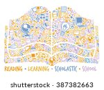 school book made of many school ... | Shutterstock .eps vector #387382663