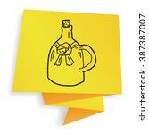 wine bottle doodle   Shutterstock .eps vector #387387007