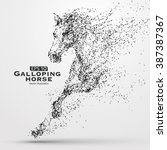 galloping horse particles... | Shutterstock .eps vector #387387367
