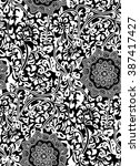 seamless black and white floral ... | Shutterstock .eps vector #387417427