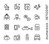 thin line wedding icon set 2 ... | Shutterstock .eps vector #387420487