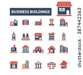 business buildings icons  | Shutterstock .eps vector #387442363