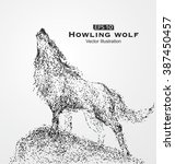 howling wolf  particles  vector ... | Shutterstock .eps vector #387450457