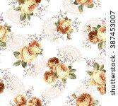rose flower pattern  | Shutterstock .eps vector #387453007