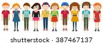 simple characters standing... | Shutterstock .eps vector #387467137