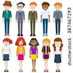 men and women in different... | Shutterstock .eps vector #387467293