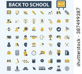 back to school icons  | Shutterstock .eps vector #387499387
