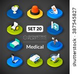 isometric flat icons  3d... | Shutterstock .eps vector #387545827