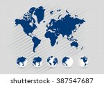 world map with earth globes ... | Shutterstock .eps vector #387547687