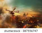 drones battle over the city at... | Shutterstock . vector #387556747