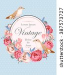 beautiful vintage vector card... | Shutterstock .eps vector #387573727