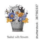 hand drawn basket full of... | Shutterstock .eps vector #387582337