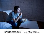 young television addict man... | Shutterstock . vector #387594013