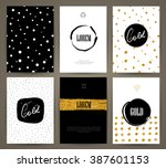set of brochures in with hand... | Shutterstock .eps vector #387601153
