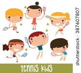 tennis kids set. cute flat...   Shutterstock .eps vector #387607807