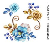 Watercolor Blue Flowers And...