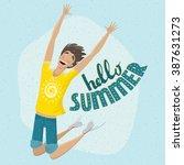 man enjoying summer   summer... | Shutterstock .eps vector #387631273