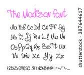 handwritten calligraphy font... | Shutterstock .eps vector #387644617