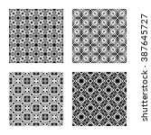 4 geometric seamless patterns... | Shutterstock .eps vector #387645727