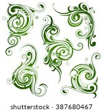 set of floral swirls | Shutterstock .eps vector #387680467