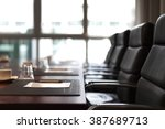 Small photo of Empty corporate conference room before business meeting