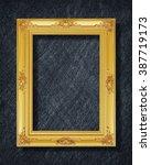 gold frame on black slate... | Shutterstock . vector #387719173