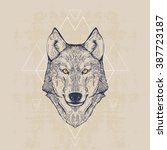 wolf head  vintage hand drawn... | Shutterstock .eps vector #387723187