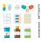 pills  capsules icons vector... | Shutterstock .eps vector #387726373
