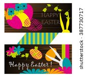 vector card. easter objects and ... | Shutterstock .eps vector #387730717