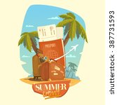 summer travel. bright  colorful ... | Shutterstock .eps vector #387731593