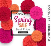 Spring Banner With Colorful...