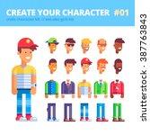 men's character creation kit.... | Shutterstock .eps vector #387763843