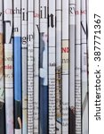 pile of  newspapers  stack of... | Shutterstock . vector #387771367