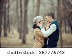 romantic couple hugging in the... | Shutterstock . vector #387776743