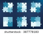 collection of 6 puzzle pieces... | Shutterstock .eps vector #387778183