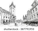 Prague City Hand Drawn Sketch....