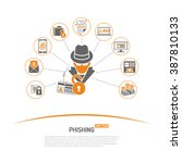 cyber crime concept with flat... | Shutterstock .eps vector #387810133