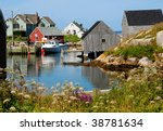 Peggy's Cove, Nova Scotia in summer. - stock photo