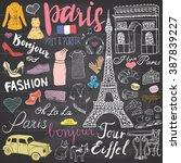 paris doodles elements. hand... | Shutterstock .eps vector #387839227