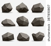 Rock Stone Isometric View Set...